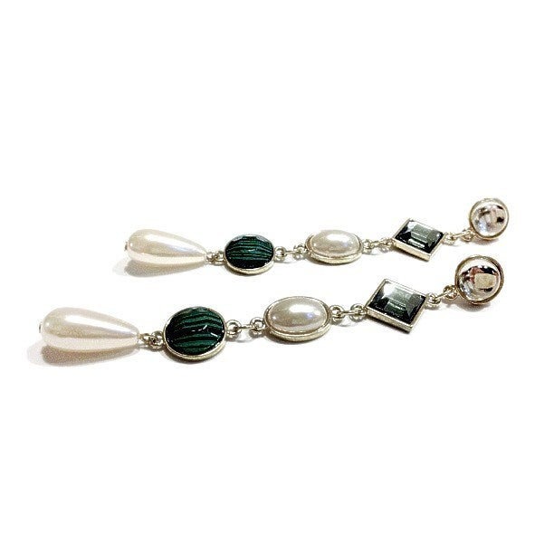 Image of Exclusive Pearl & Green Gem Drop Earrings