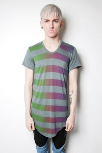 Image of Grey/Green Rainbow Stripe Tee