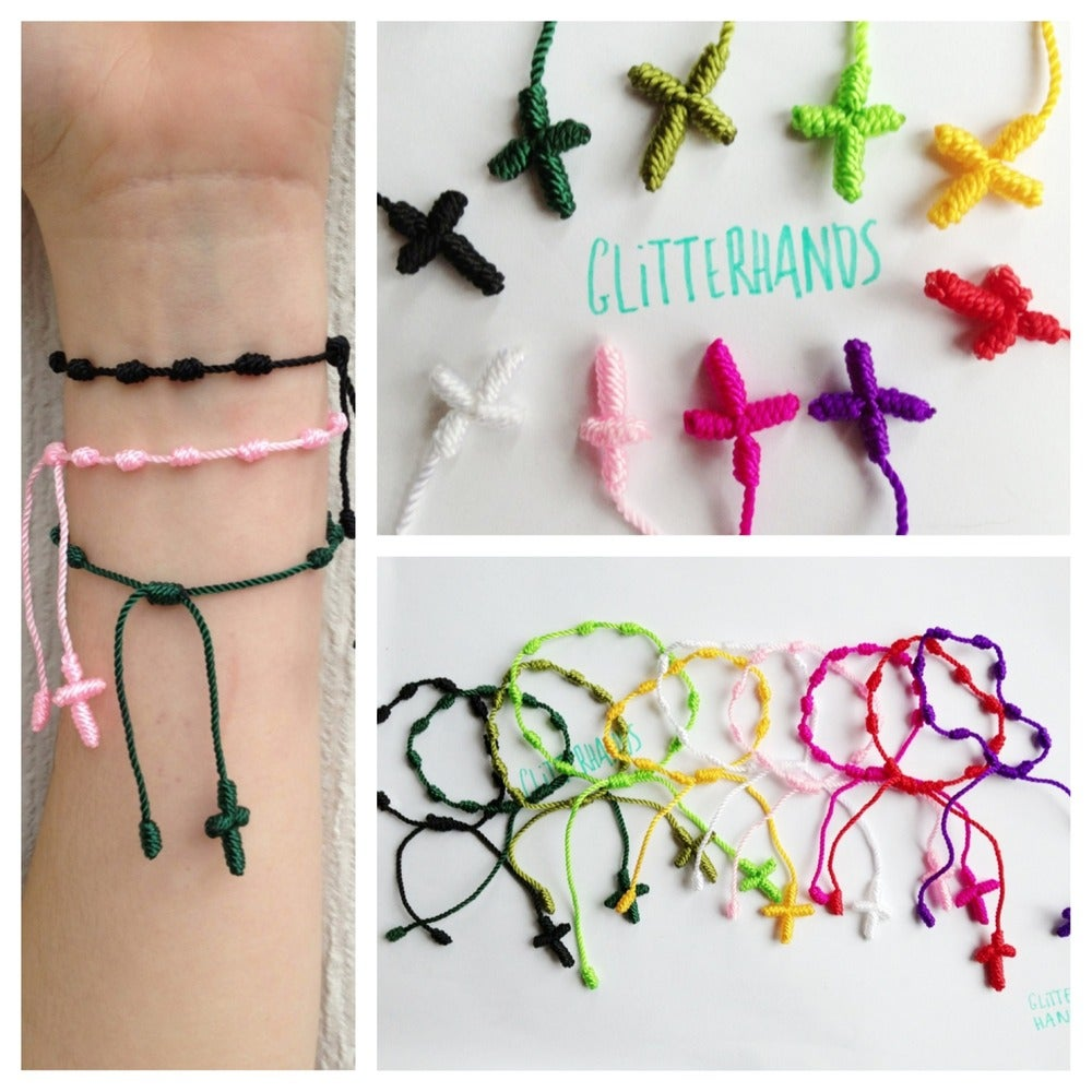 Image of Knitted Rosary Bracelets