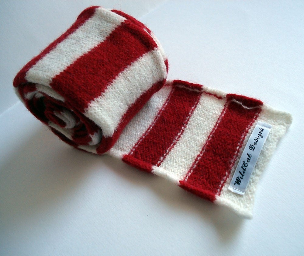 Image of Red & White Sailor Stripe Scarf