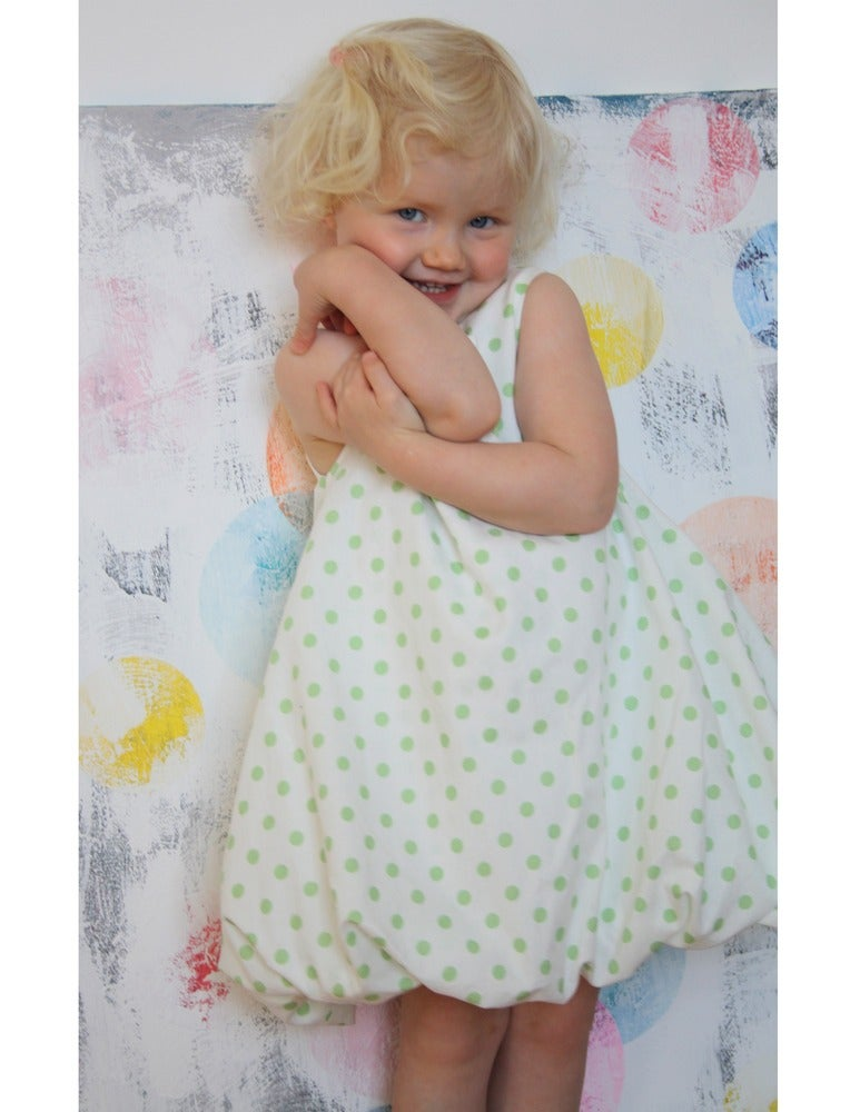 Image of Balloon Dress-green dots