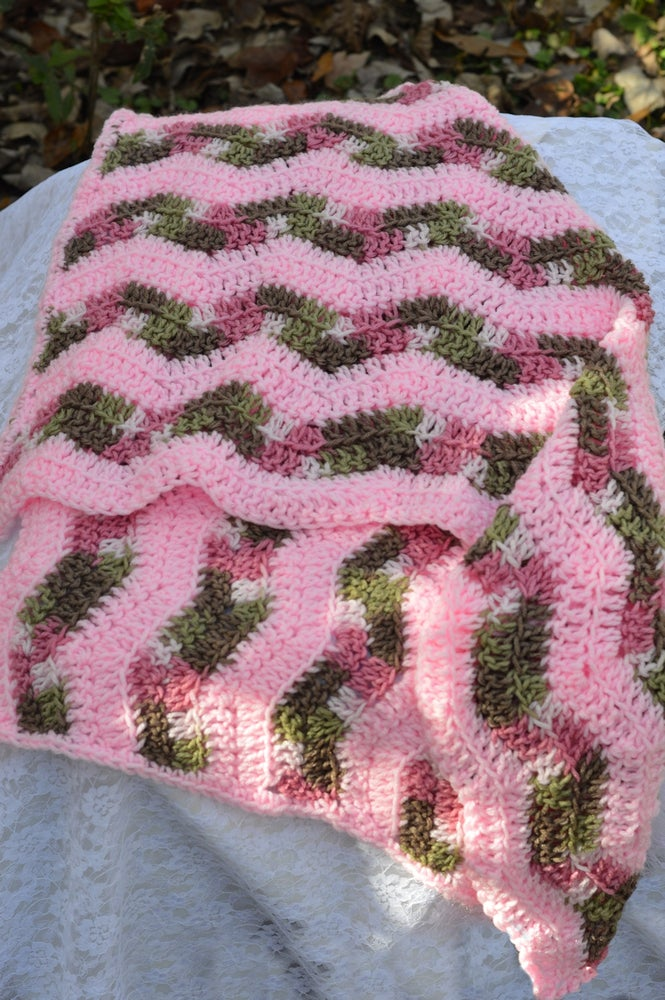 Image of Pink with pink camouflage swaddling blanket