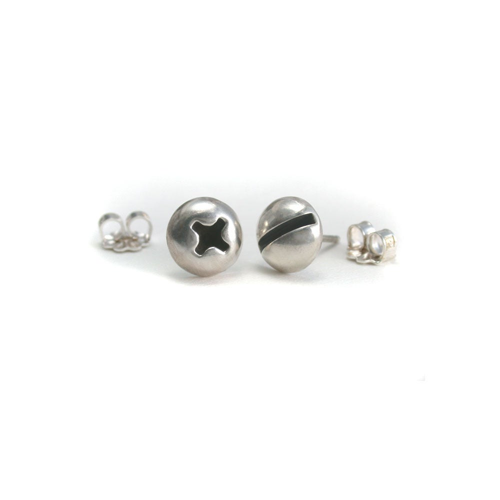 Image of round screw earrings