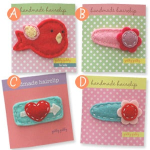 Image of valentine's day hair clips in big girl size