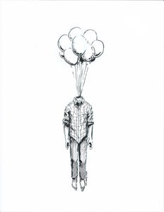 Image of Head Balloon (original ink artwork)