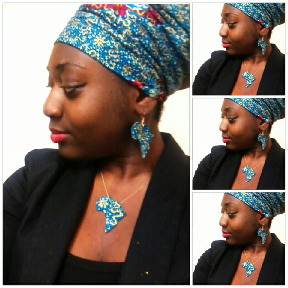 Image of Green/Gold Africa Shaped Earrings