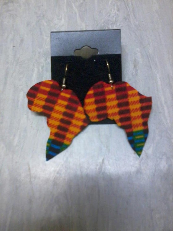 Image of  Kente Africa Shaped Earrings