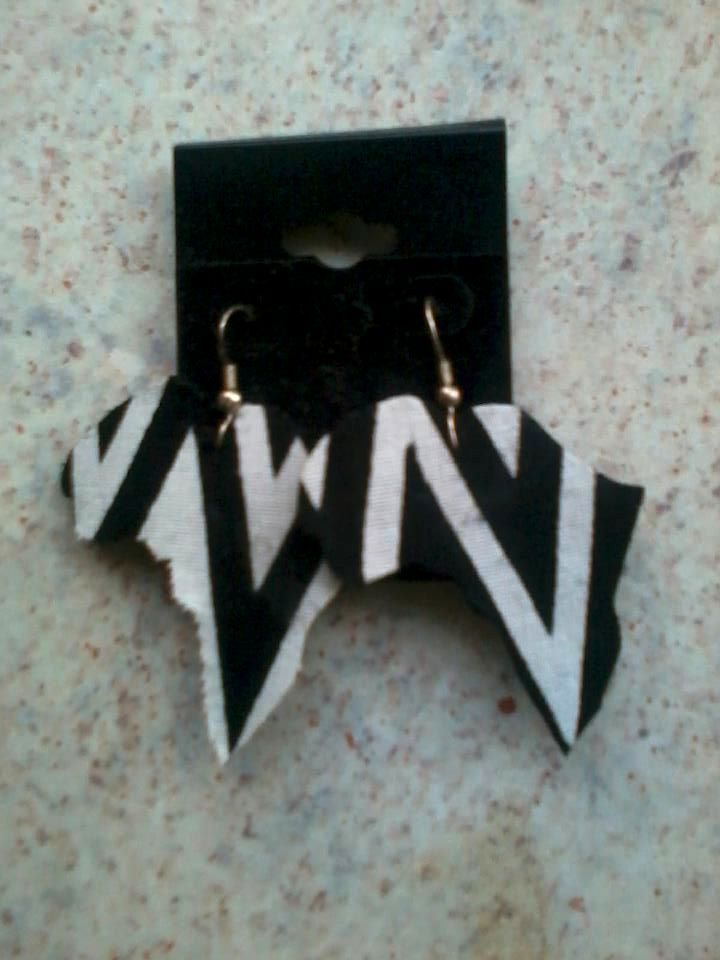 Image of Black and White Africa Shaped Earrings