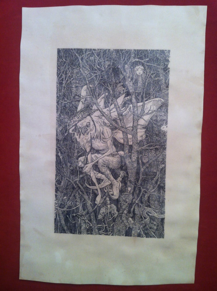 Image of the Goblin Warlock -hand stained print