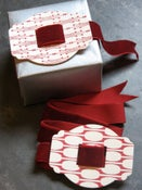 Image of Set of 3 Red Deco Letterpress Buckles, add your own ribbon