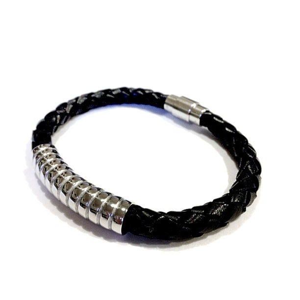 Image of Exclusive Sterling Silver Leather Woven Bangle