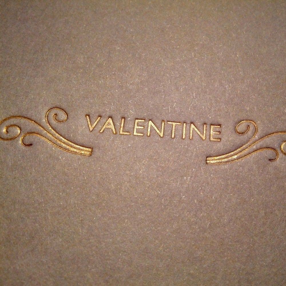 Image of Letterpress Valentine's Card - Copper Gold Ornament