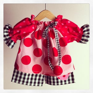"Image of Euro Dots and Herringbone Outfit  Fits 15"" Waldorf Doll Ready to Ship"