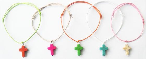 Image of Coloured Cross Charm Bracelet