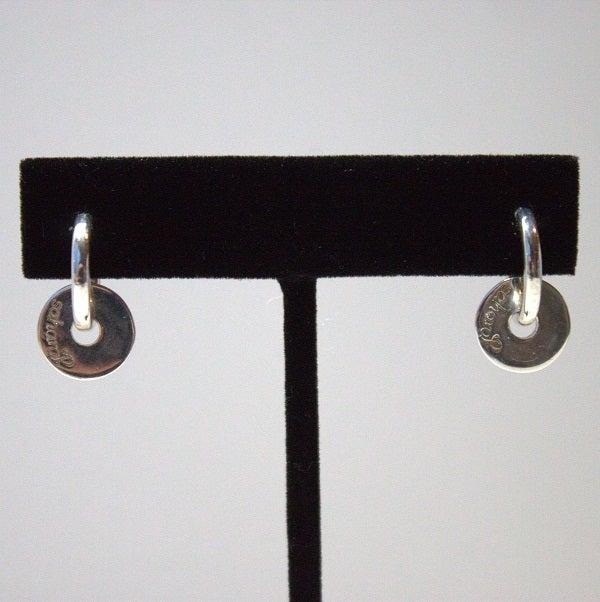 """Image of Sterling Silver Hoop-Disc Earrings """"Kitty"""""""