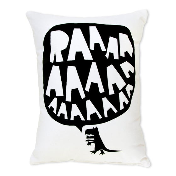 Image of RAAAAA Dinosaur Cushion - Black