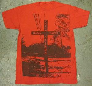 "Image of MJL ""Jesus Saves Satan Spends"" Red T-Shirt"
