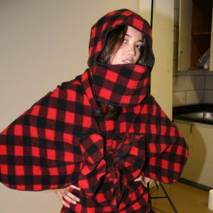 Image of RED BUFFALO CHECK HOODED CAPLET