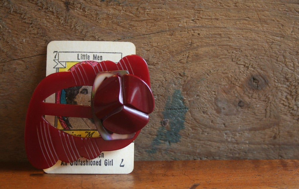Image of Vintage buckle and button brooch - red wine bakelite