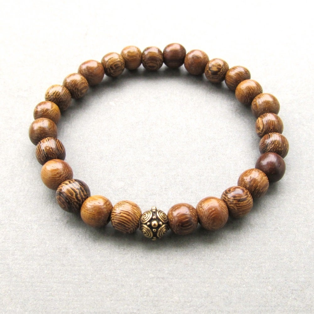 Image of Brown Robles Beaded Bracelet With Antique Gold Bead 2
