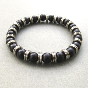Image of Black Wood And Metal Washer Mixed Bead Bracelet