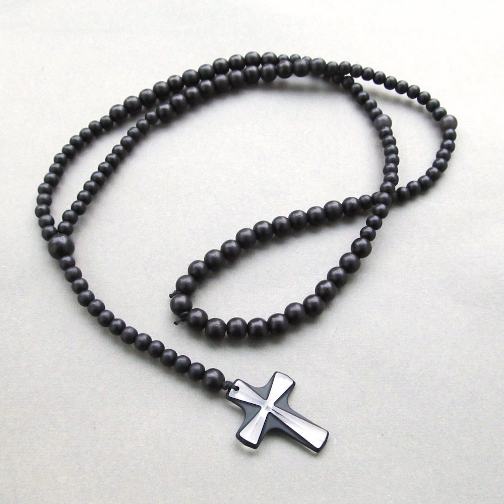 Image of Black Wooden Beaded Rosary With Large Crystal Cross