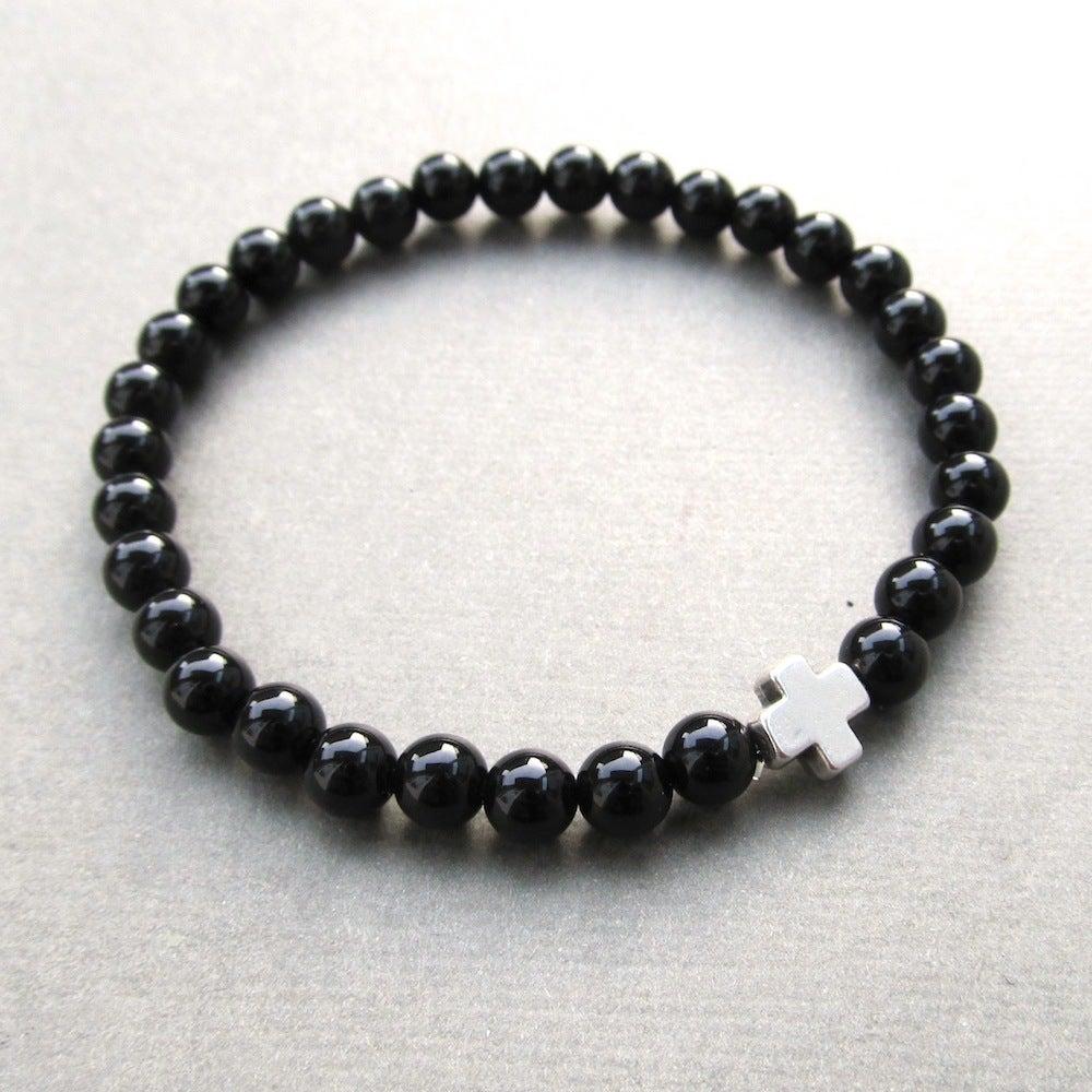 Image of Black Agate And Cross Beaded Bracelet