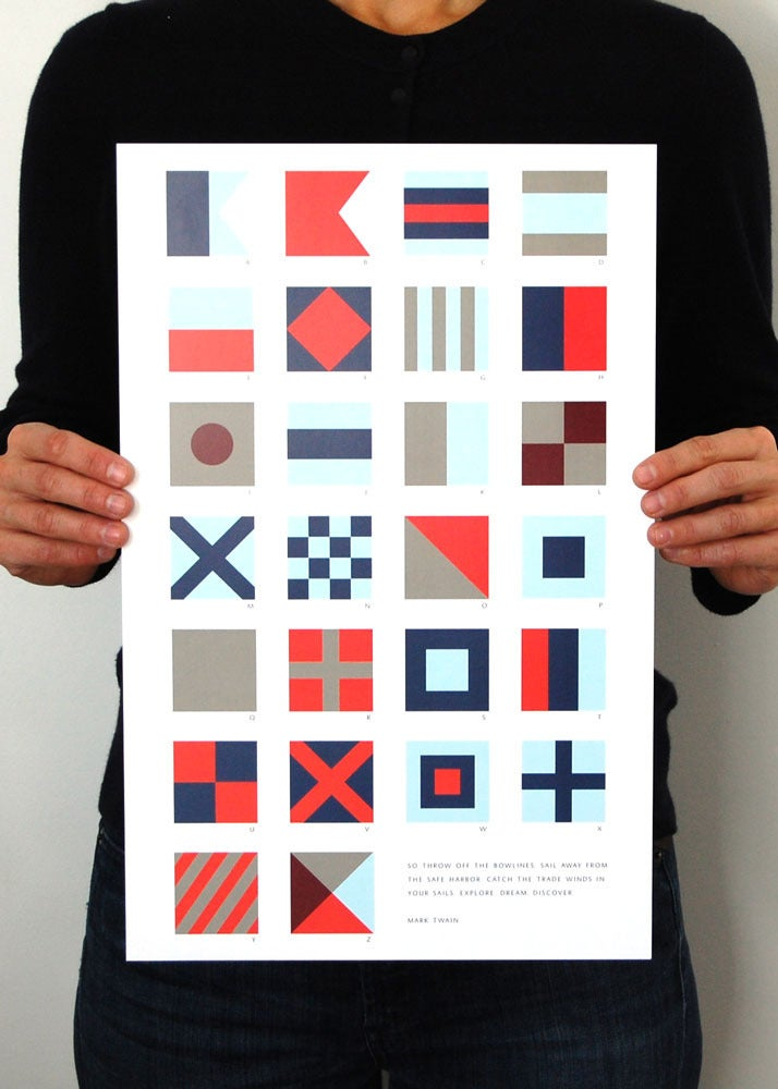 Image of Alphabet Flags - Blue