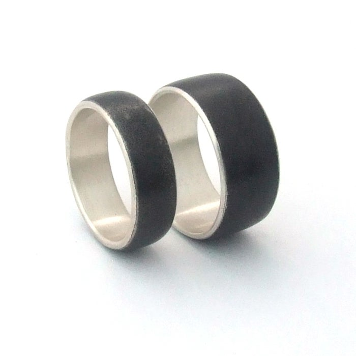 Image of Forged Stainless Steel Wedding Set