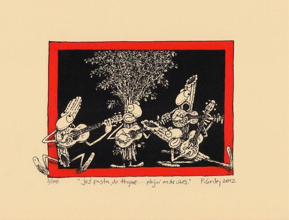 "Image of ""Jes' Pasta, de Thyme, playin' on de Ukes."""