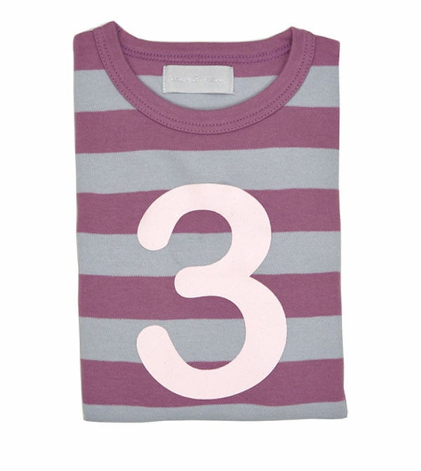 Image of Birthday Tee (No. 1), Dusty Violet & Dove Grey Striped