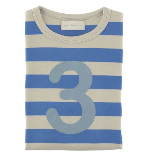 Image of Birthday Tee (No. 1-5), Sailor Blue & Sand Striped