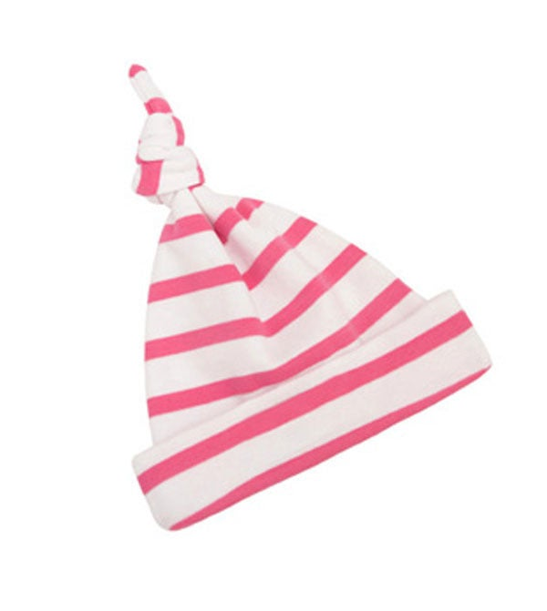 Image of Baby Coral Pink & White Breton All-in-one & hat