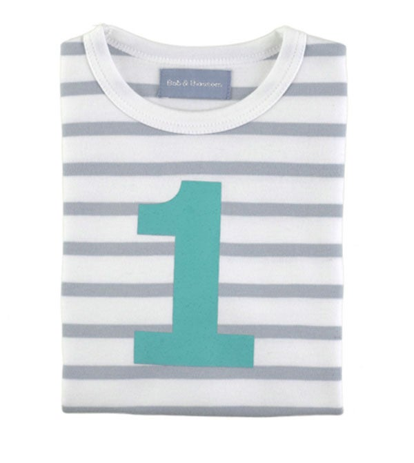 Image of Birthday Tee (No. 1), Grey & White Beton (Turquoise)