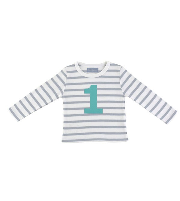 Image of Birthday Tee (No. 1), Grey & White Beton (Turquoise)