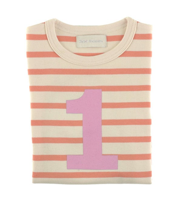 Image of Birthday Tee (No. 1), Peaches & Cream Breton Striped