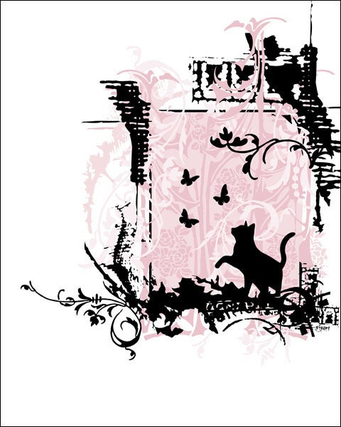 Image of Pink Cat Ornate Print