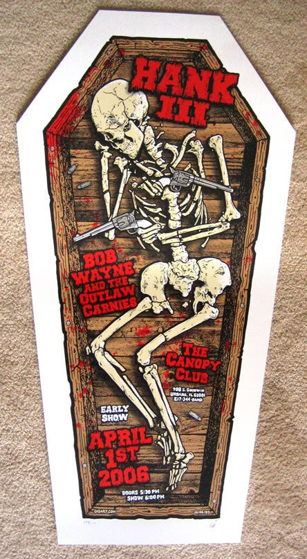 Image of Hank Williams III Coffin Poster 2006