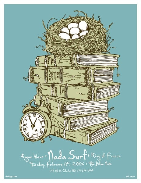 Image of Nada Surf Stacked Books Poster 2006