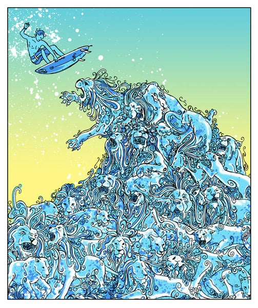 Image of Blue Lion Wave Art Print