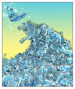 Image of Blue Lion Wave Art Print