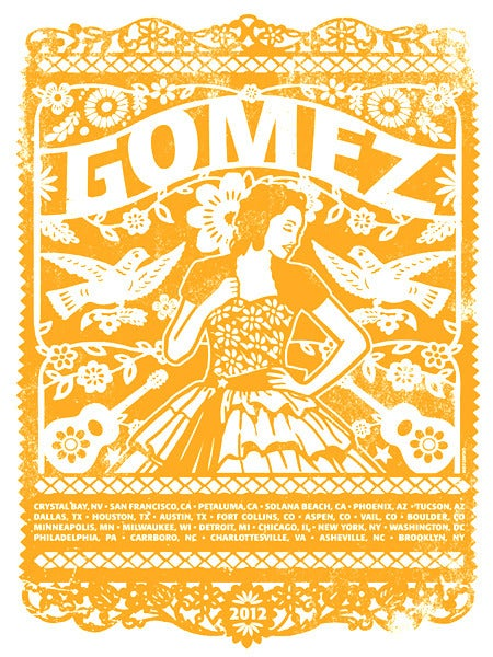 Image of Gomez Band Yellow Main US Tour Poster 2012