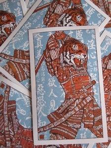 Image of Samurai Tiger Attack Vinyl Sticker