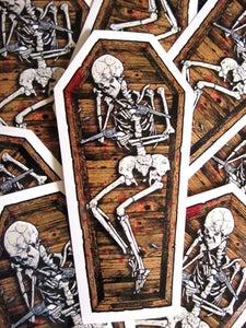 Image of Skeleton Coffin Die Cut Vinyl Sticker