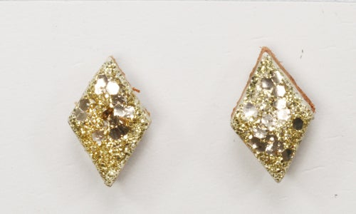 Image of METALIC DIAMOND LEATHER stud earrings