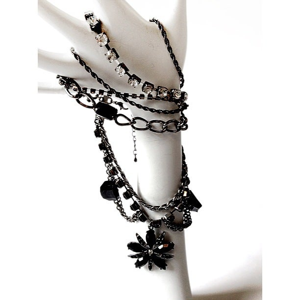 Image of Exclusive Gunmetal & Black Flower Bracelet