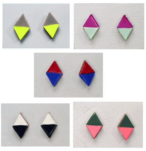 Image of COLORBLOCK DIAMOND LEATHER stud earrings