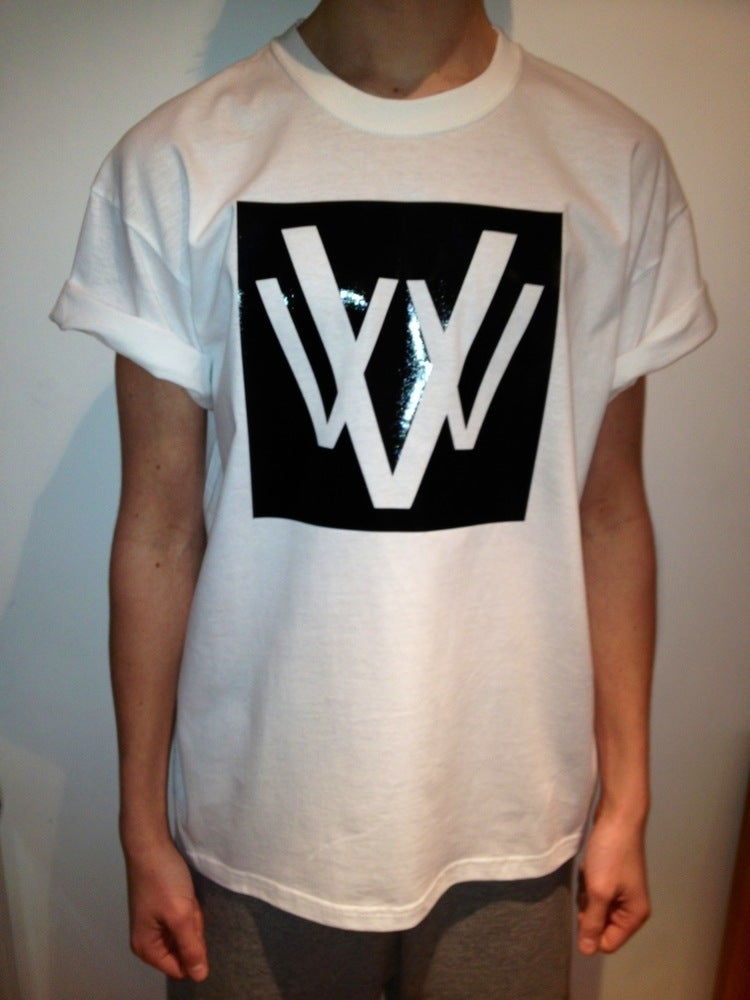 Image of vVv white glossy panel tee