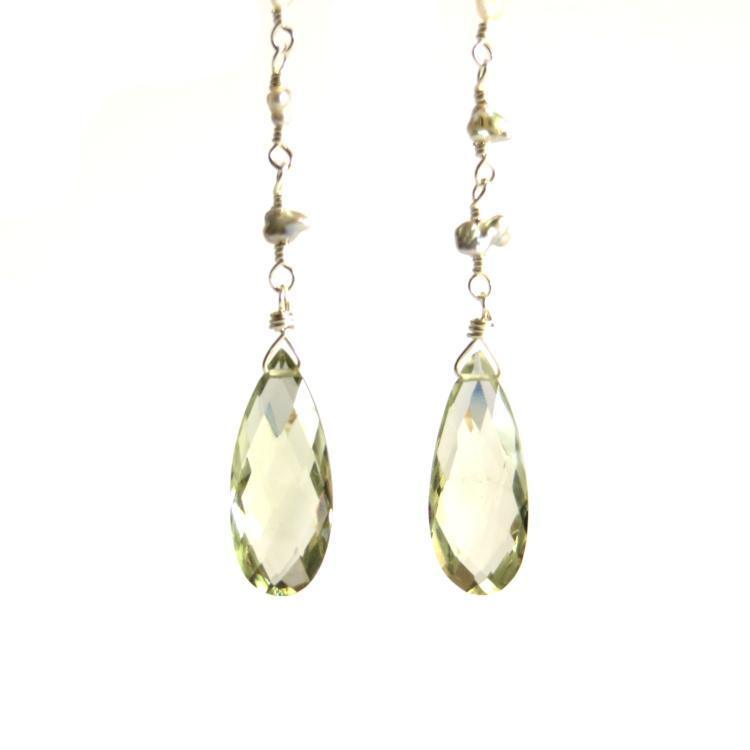 Image of Saltwater pearls and green amethyst earrings