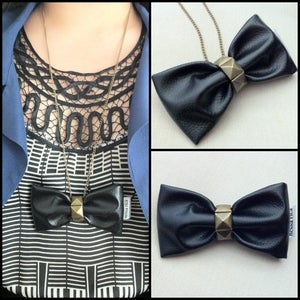 Image of Leather Bow (also available as an easy clip-on bow tie)